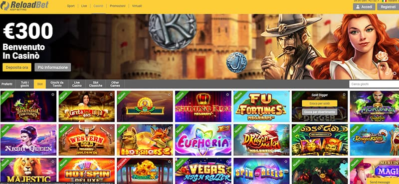 reload casino homepage