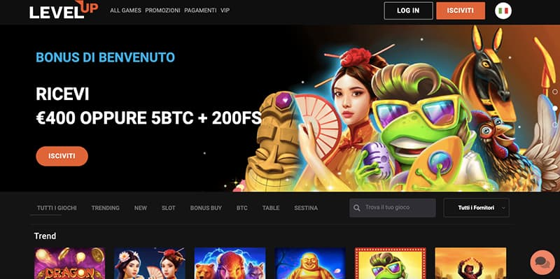 levelup casino online interface
